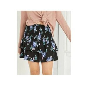Wild FableFloral Smocked Ruffle Mini Skirt